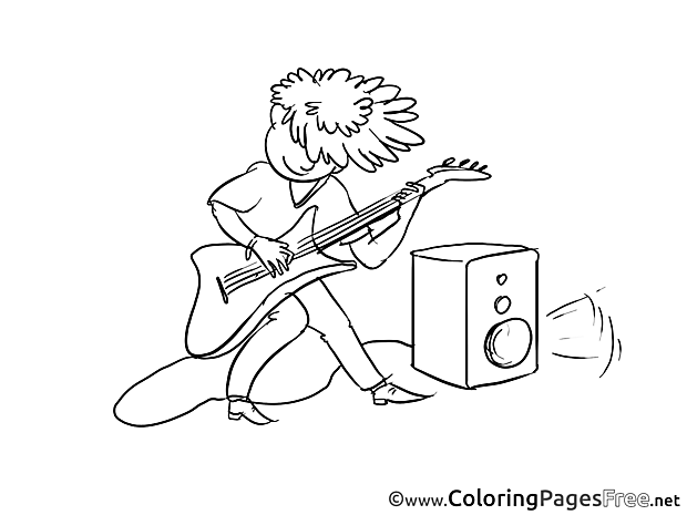 Guitarist for Kids printable Colouring Page
