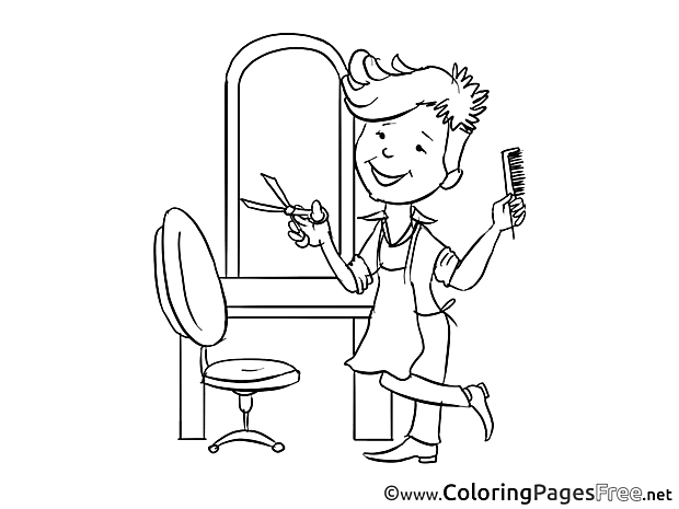 Hairdresser free Colouring Page download