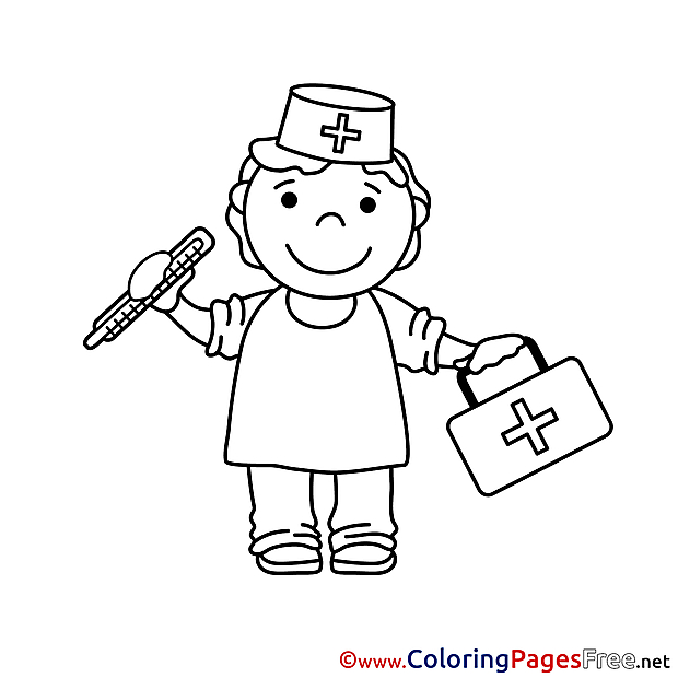 Health Worker download printable Coloring Pages