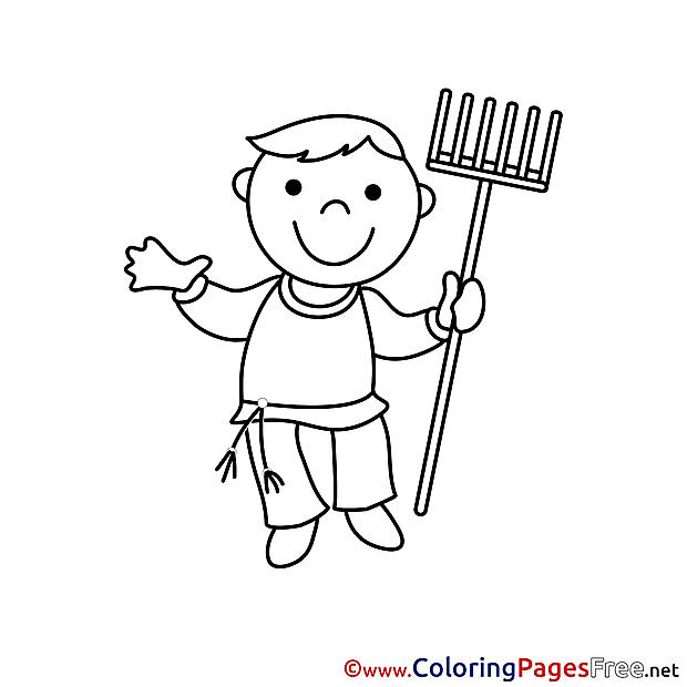Kids free Coloring Page Gardener
