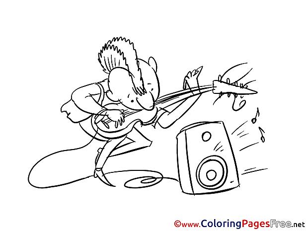 Musician Coloring Sheets Invitation free
