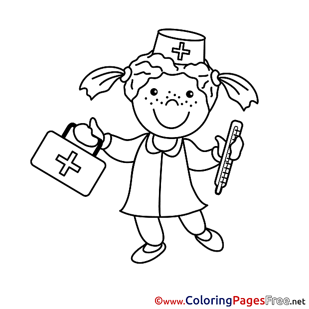 Nurse download Colouring Sheet free