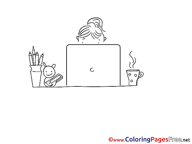 Office Worker Children Coloring Pages free