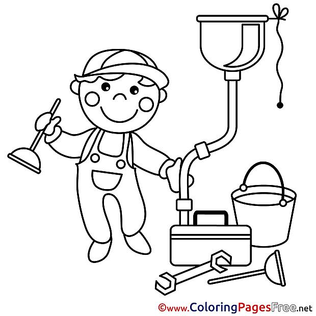 Plumber Colouring Sheet download free