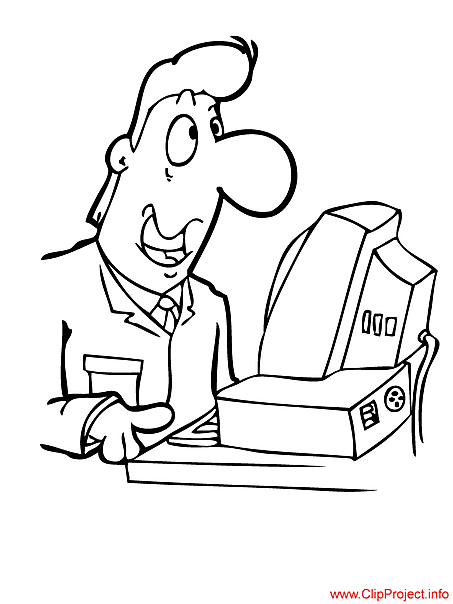 Programmer cartoon - work coloring pages