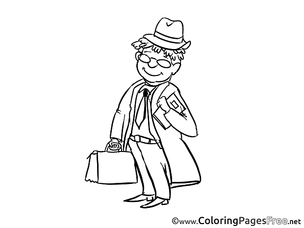 Salesman Colouring Sheet download free
