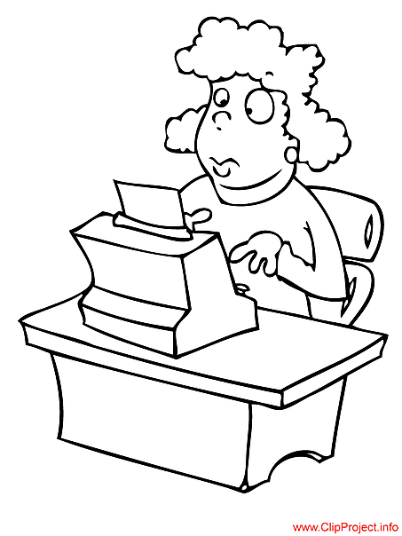 Secretary image -  work coloring pages