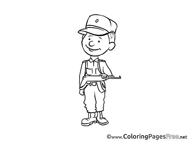 Soldier Kids Invitation Coloring Page