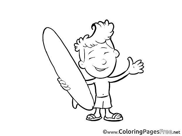 Surfer for Children free Coloring Pages