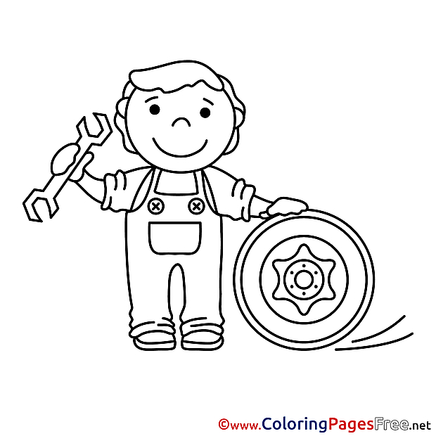 Technician for Kids printable Colouring Page