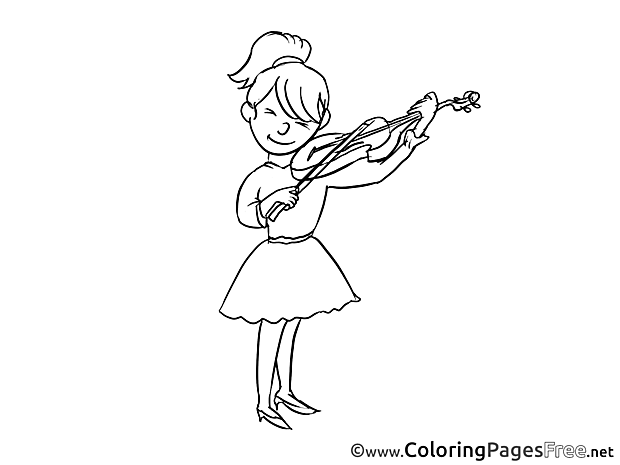 Violinist Children Coloring Pages free