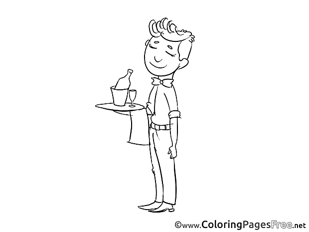 Waiter download Invitation Coloring Pages