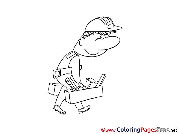 Worker Colouring Sheet download Invitation