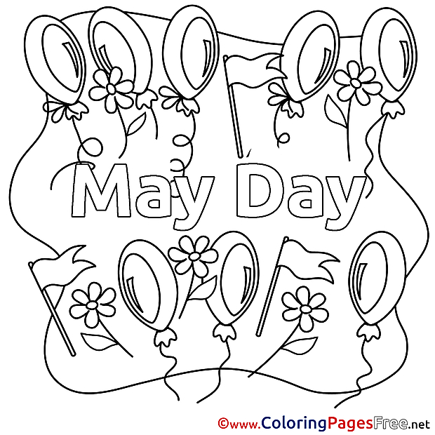 Balloons Coloring Sheets Workers Day free