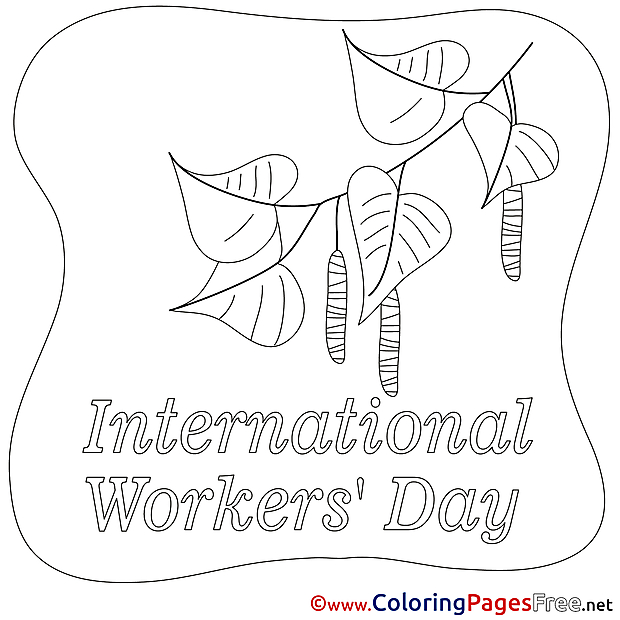 Children Workers Day Colouring Page Leaves