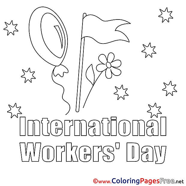 Flag printable Workers Day Coloring Sheets
