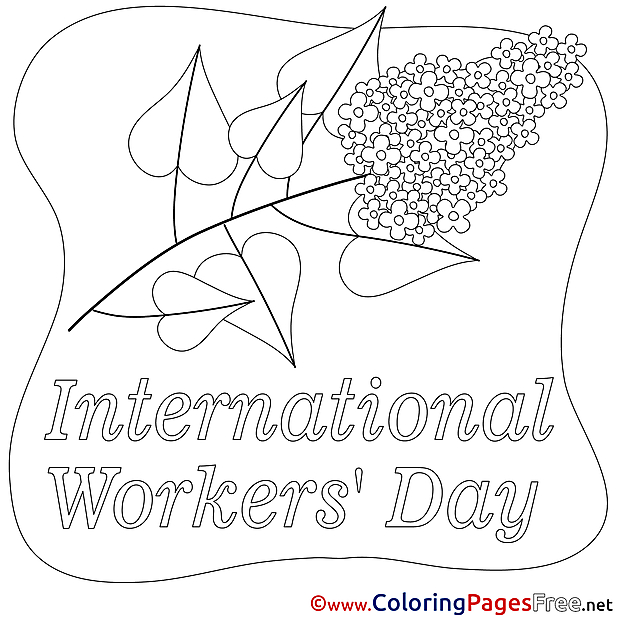 Flower free Workers Day Coloring Sheets
