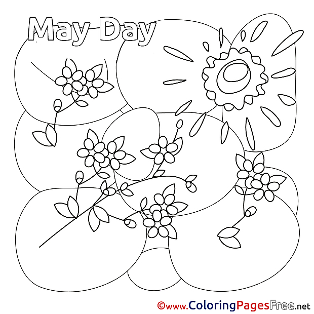 Flowers Kids Workers Day Coloring Pages
