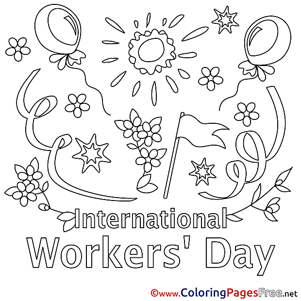 For Kids Workers Day Holiday Colouring Page