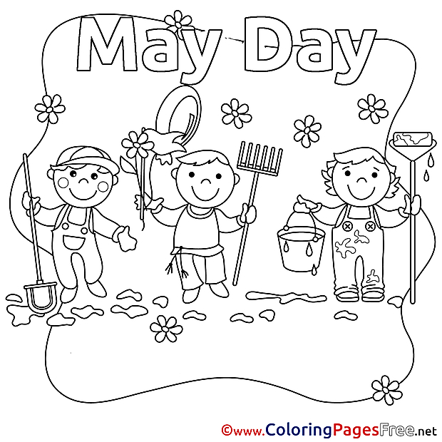 May Day download Workers Day Coloring Pages