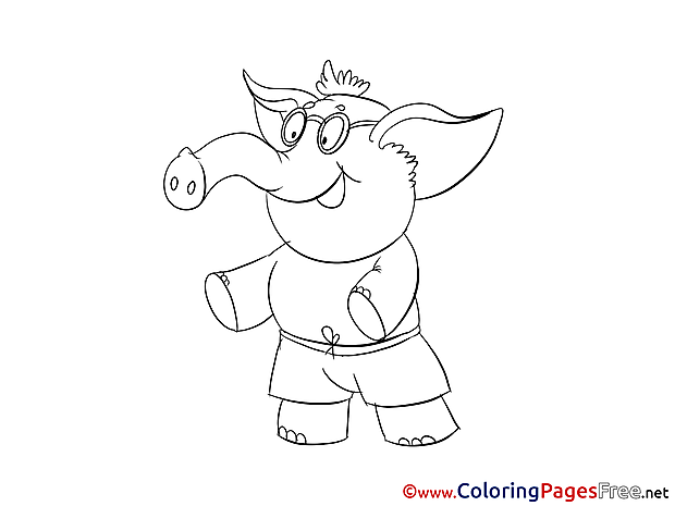 Elephant Coloring Pages free for Children