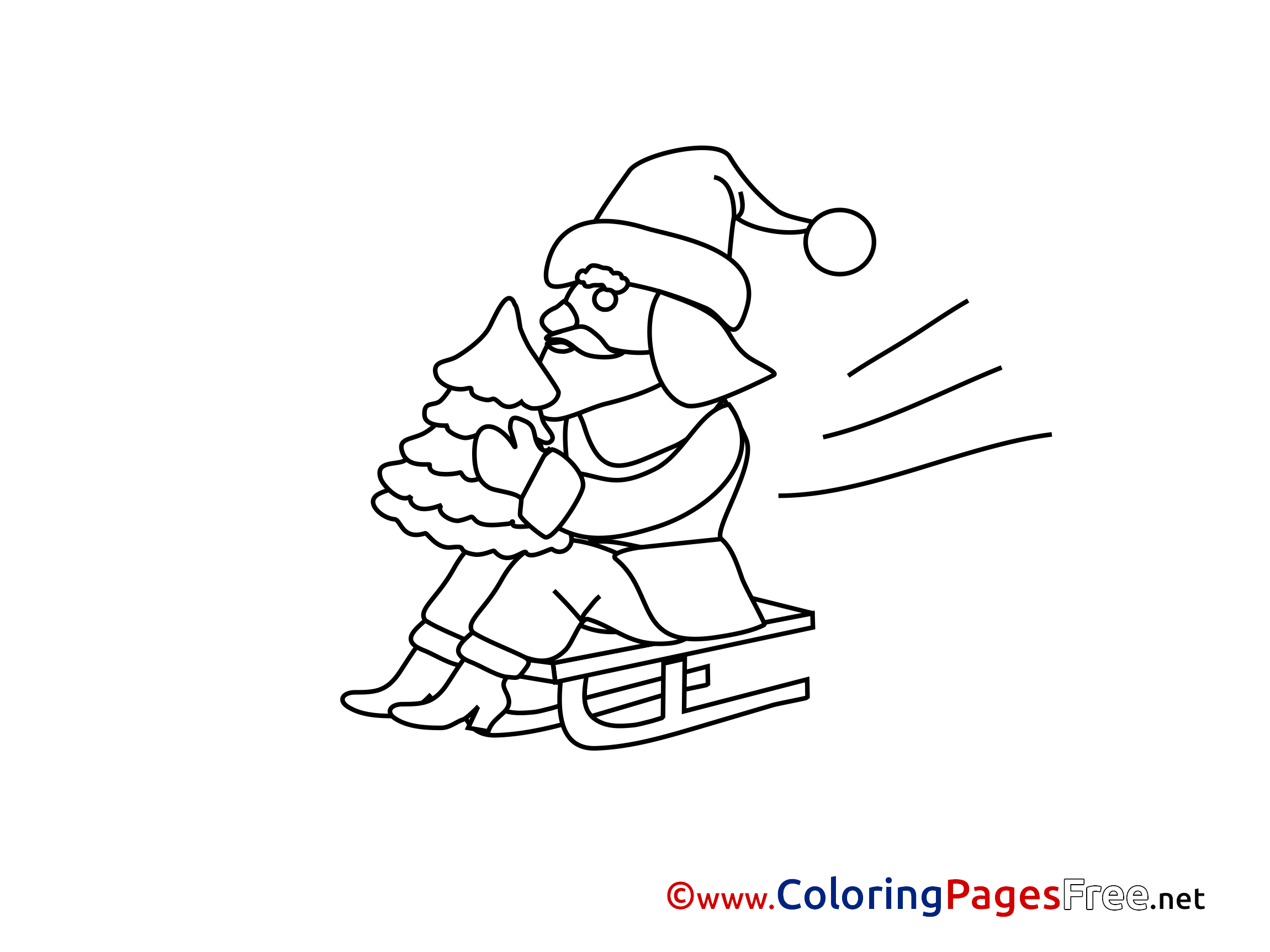 Sled Advent Coloring Pages free