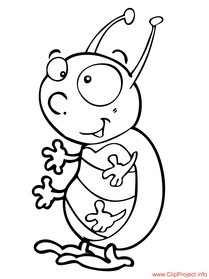 Bug Cartoon Coloring Picture