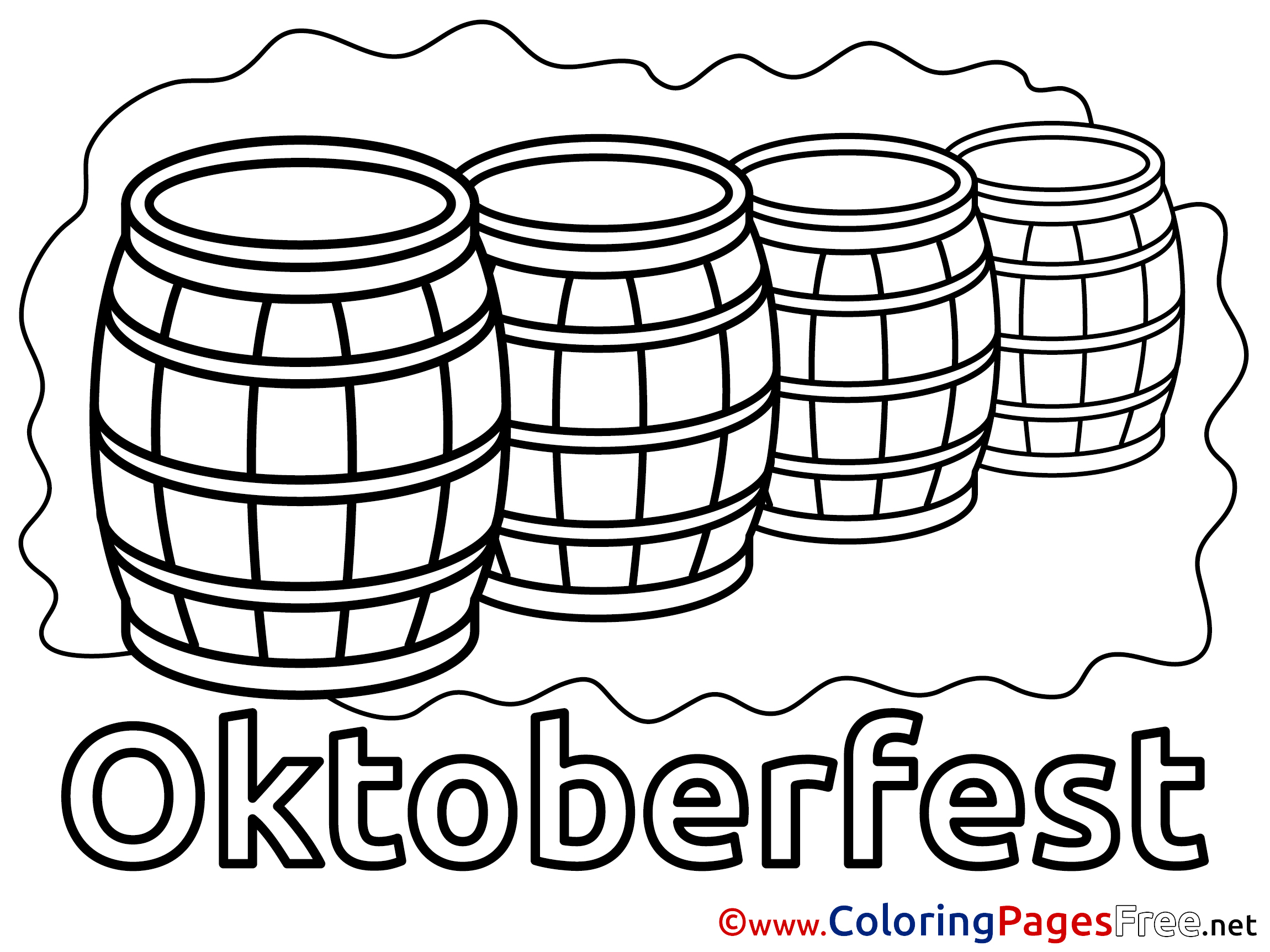 Beer Barrels Printable Coloring Pages For Free