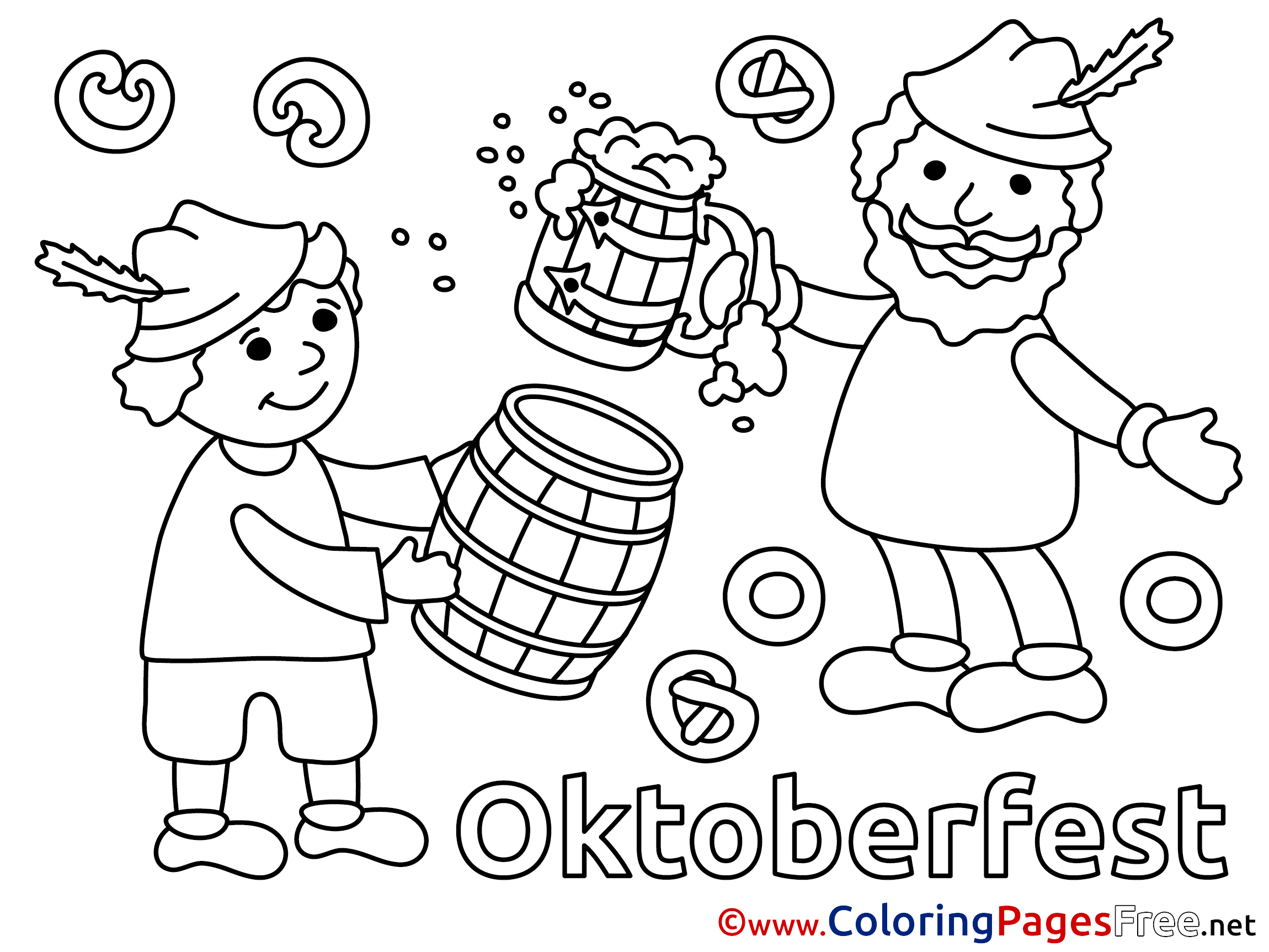 Beer Oktoberfest printable Coloring Pages for free