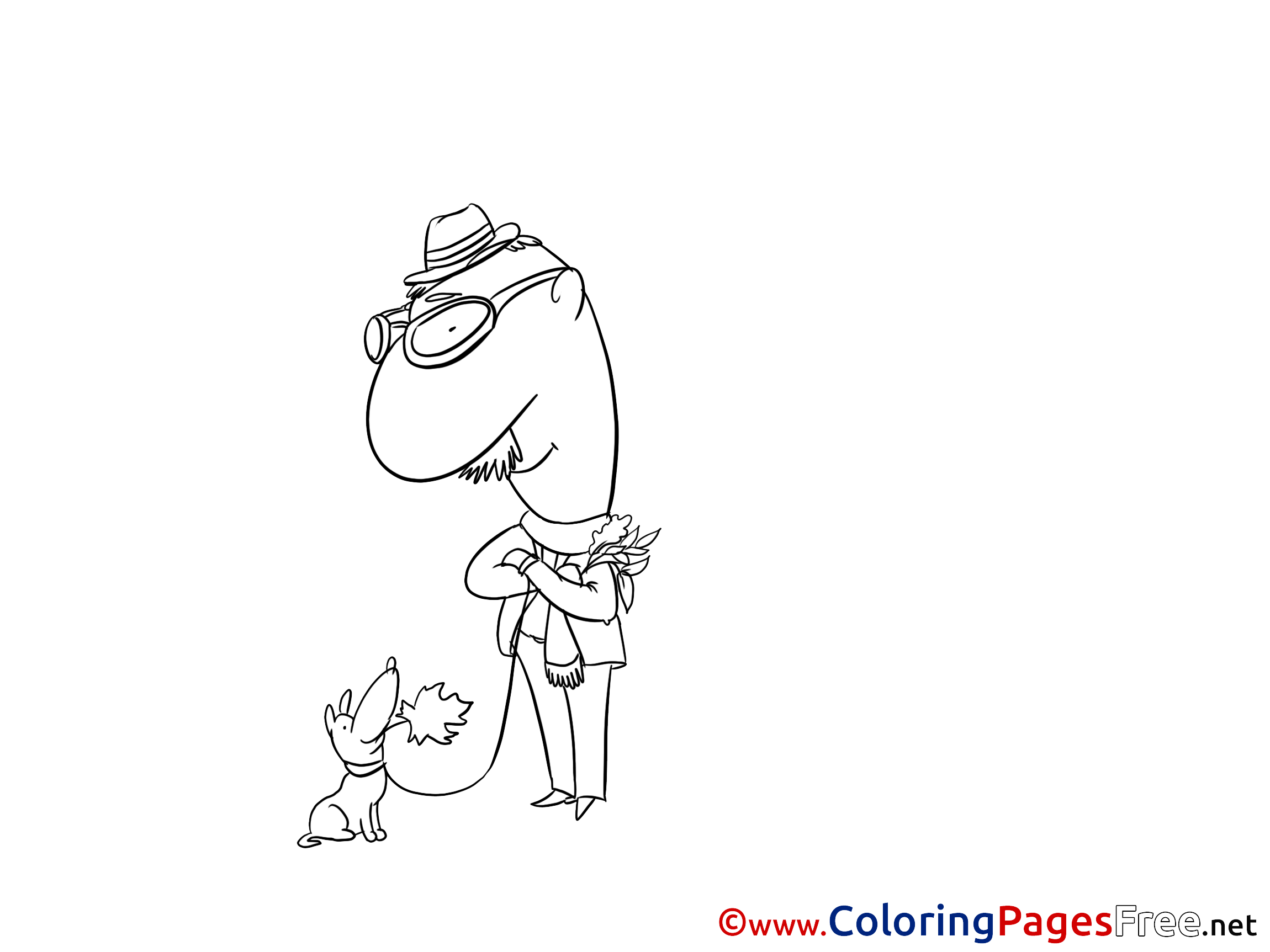 Man Dog Coloring Pages for free