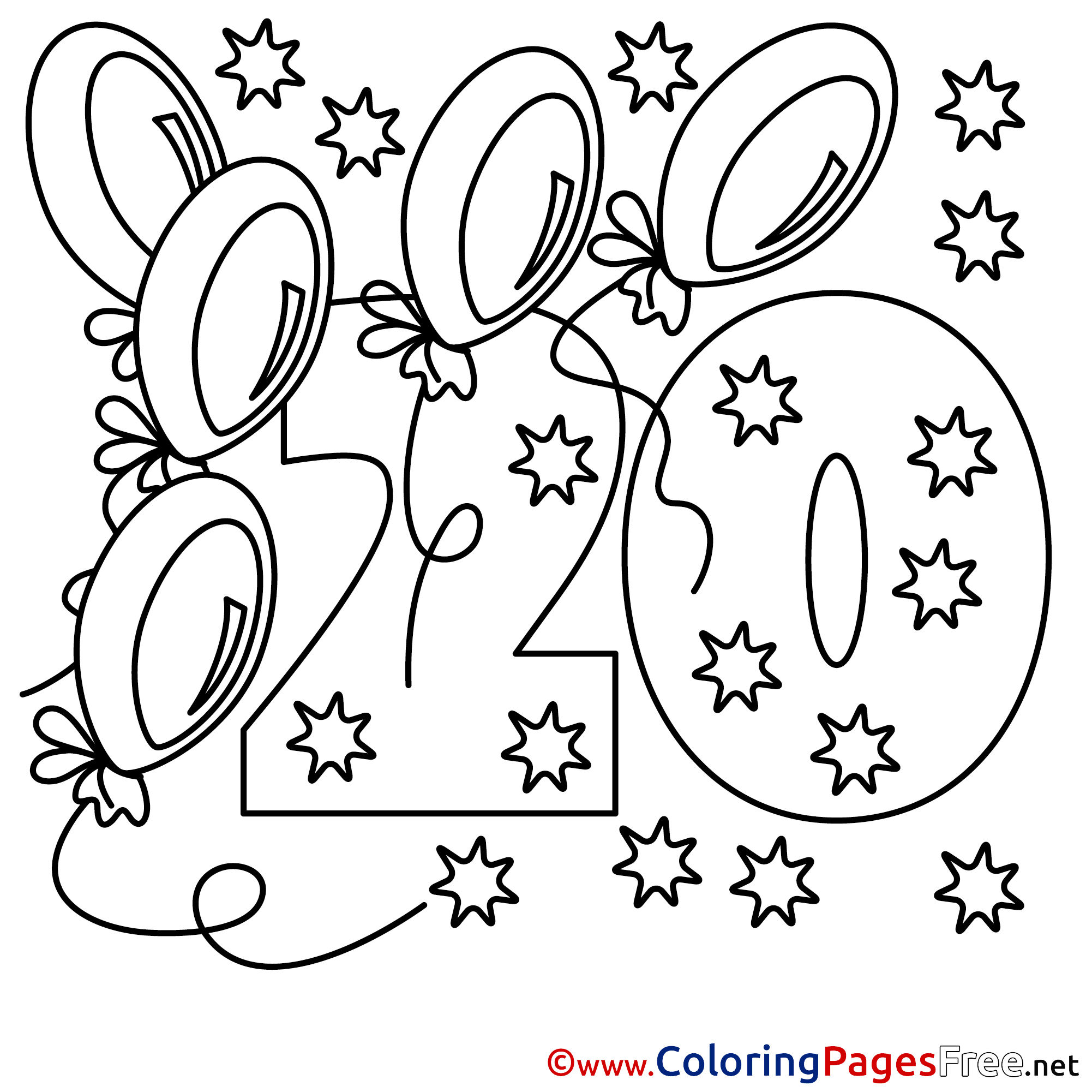 20 Years Stars Happy Birthday Coloring Pages Download