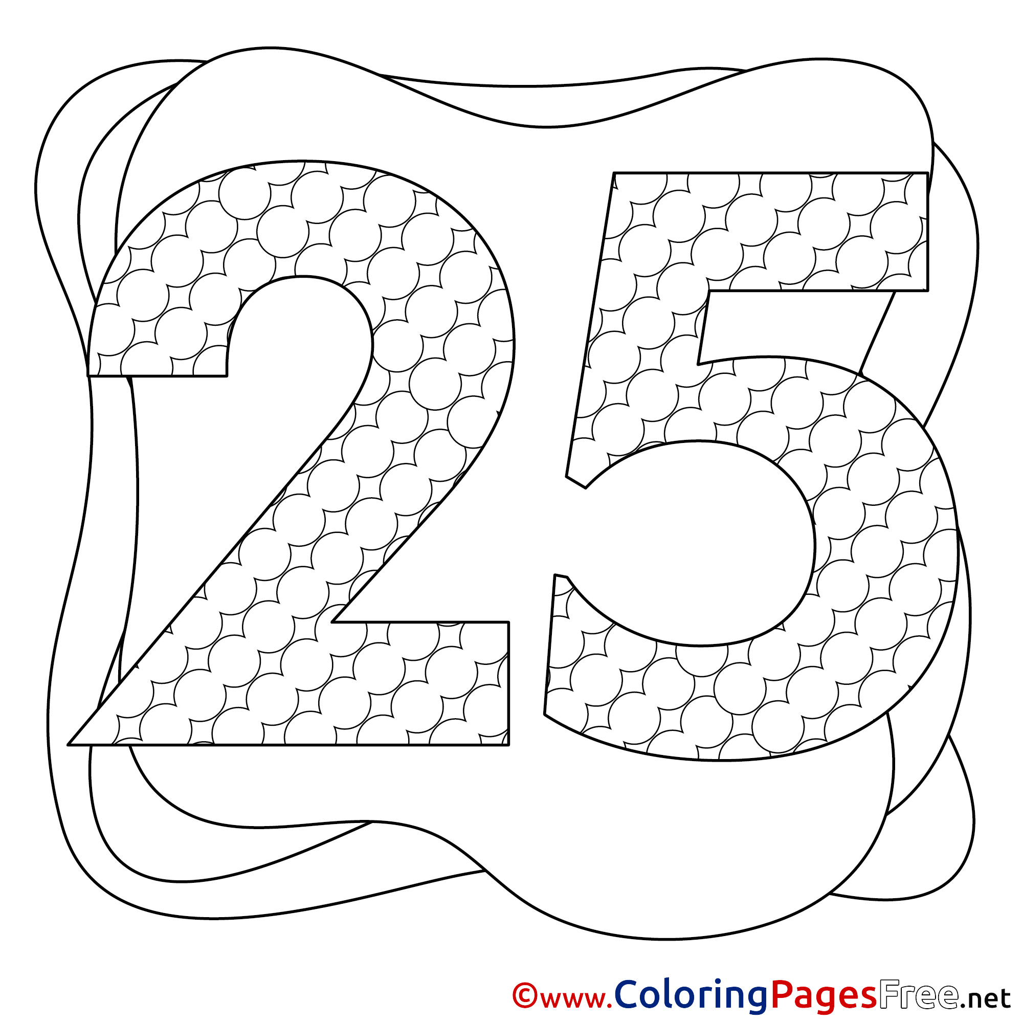 25 years happy birthday colouring sheet free for Free birthday coloring pages