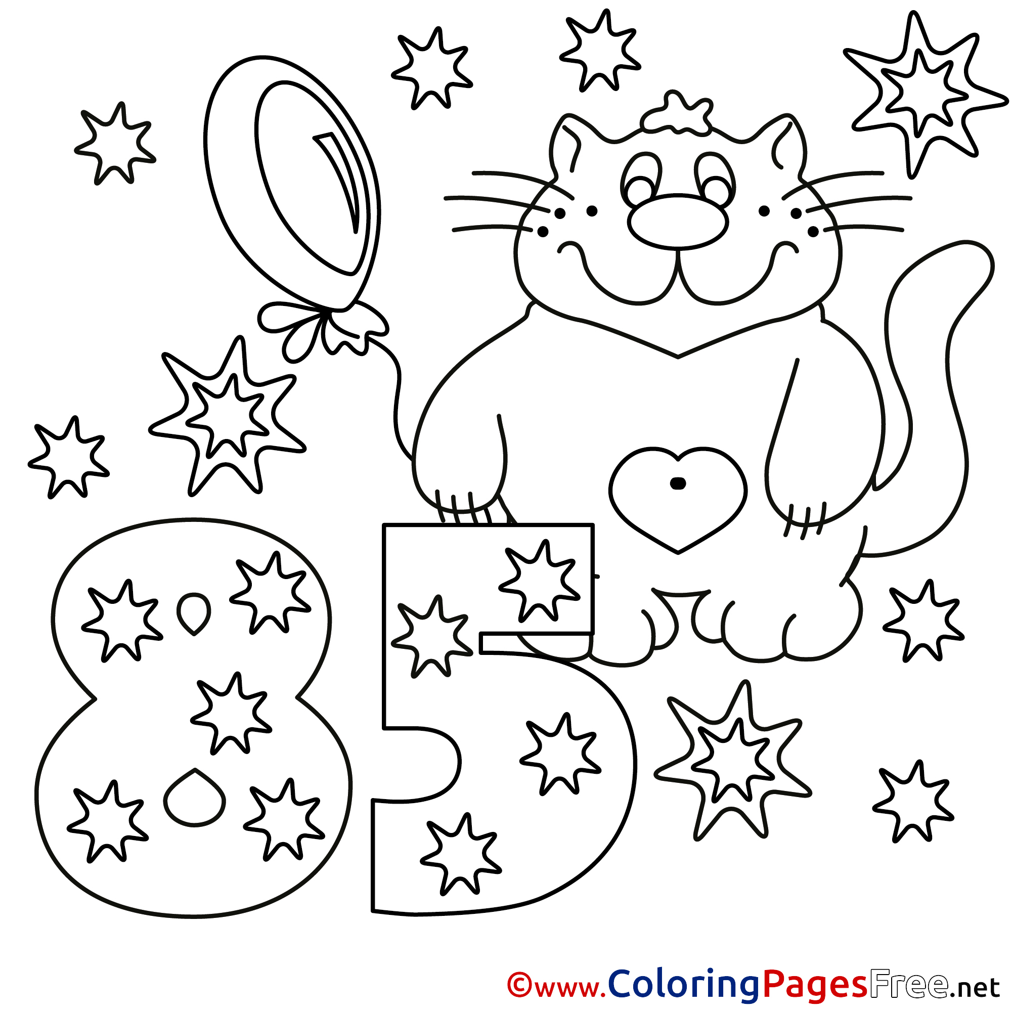 Cat Birthday Coloring Page Pet Birthday Coloring Pages Doodle Art ...
