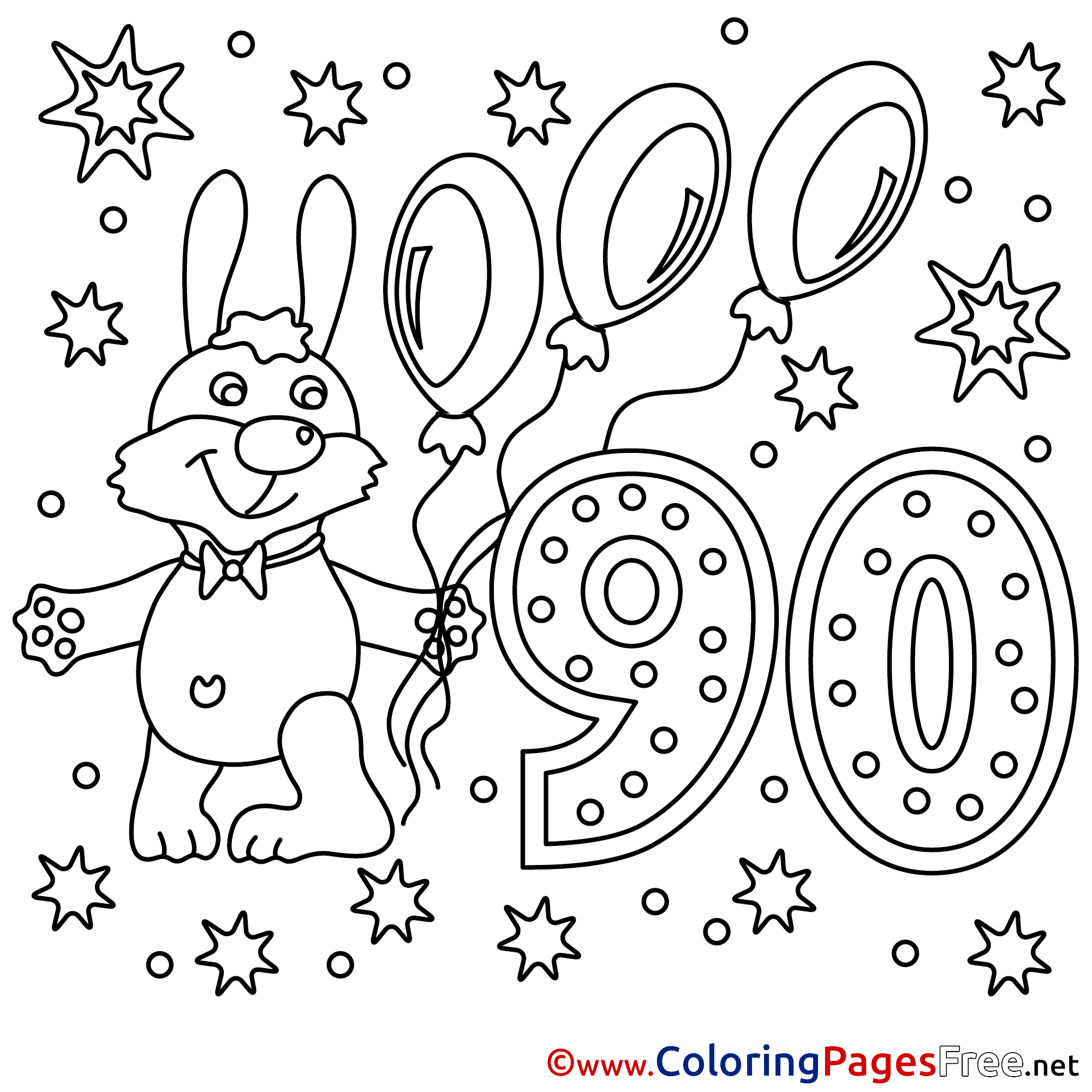 90 years download happy birthday coloring pages