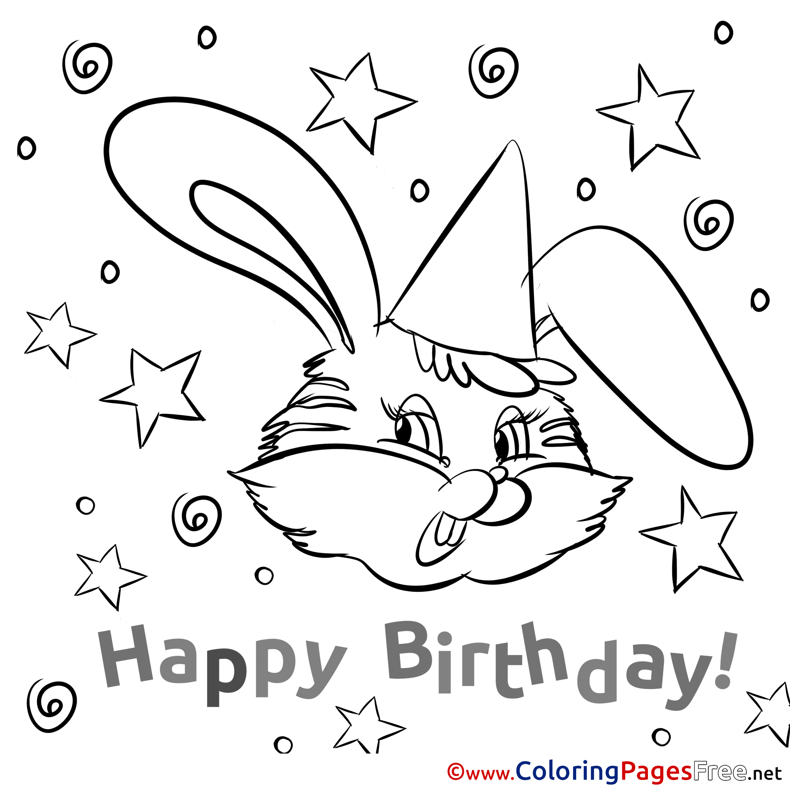 Bunny Colouring Page Happy Birthday free
