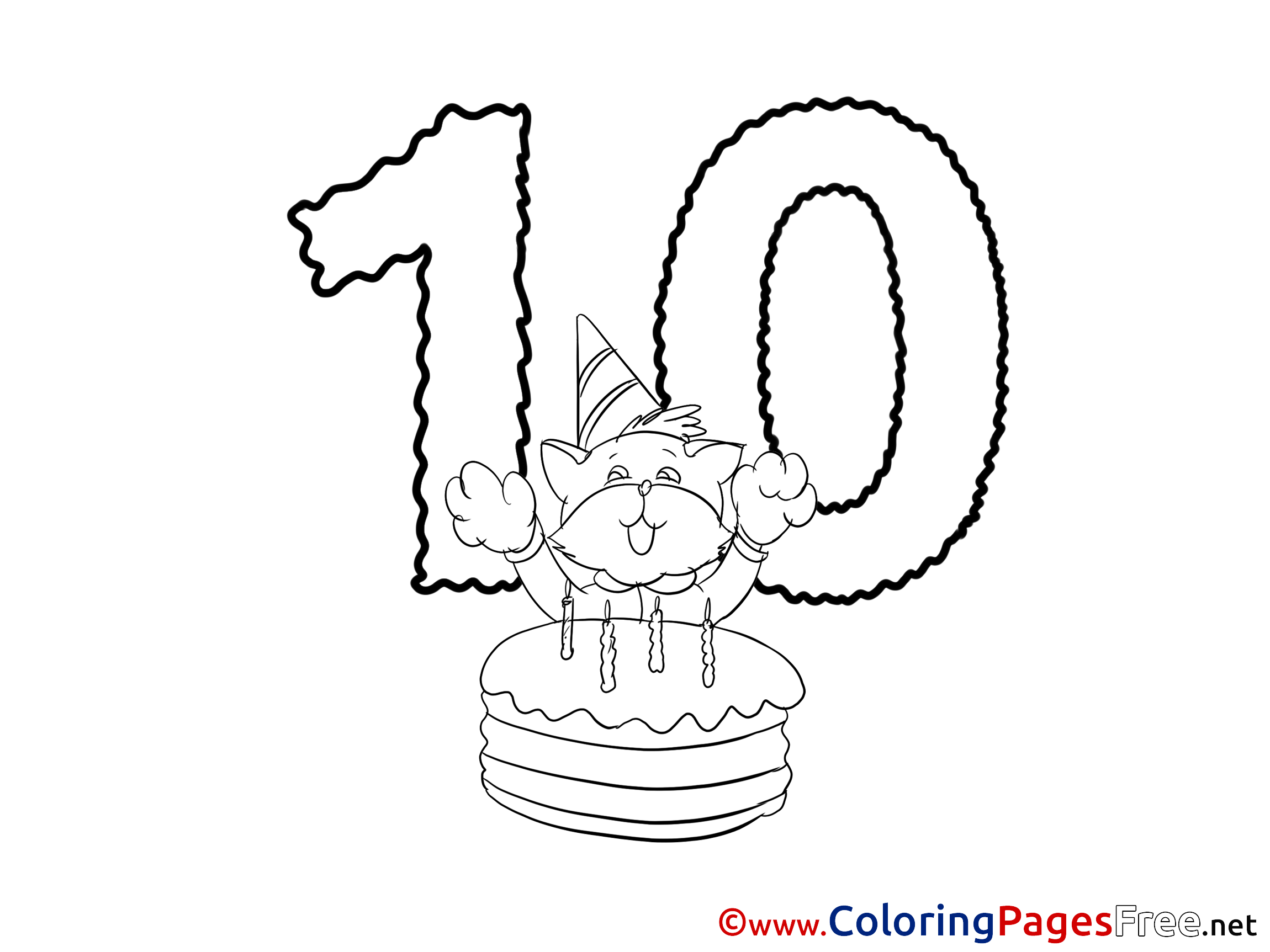 Cat 10 Years Happy Birthday Colouring Sheet free