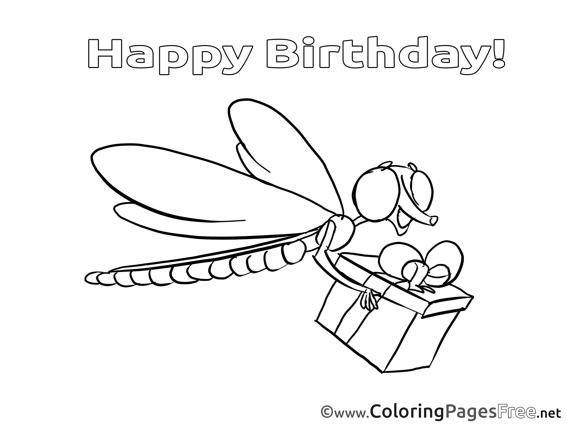 Dragonfly for Kids Happy Birthday Colouring Page