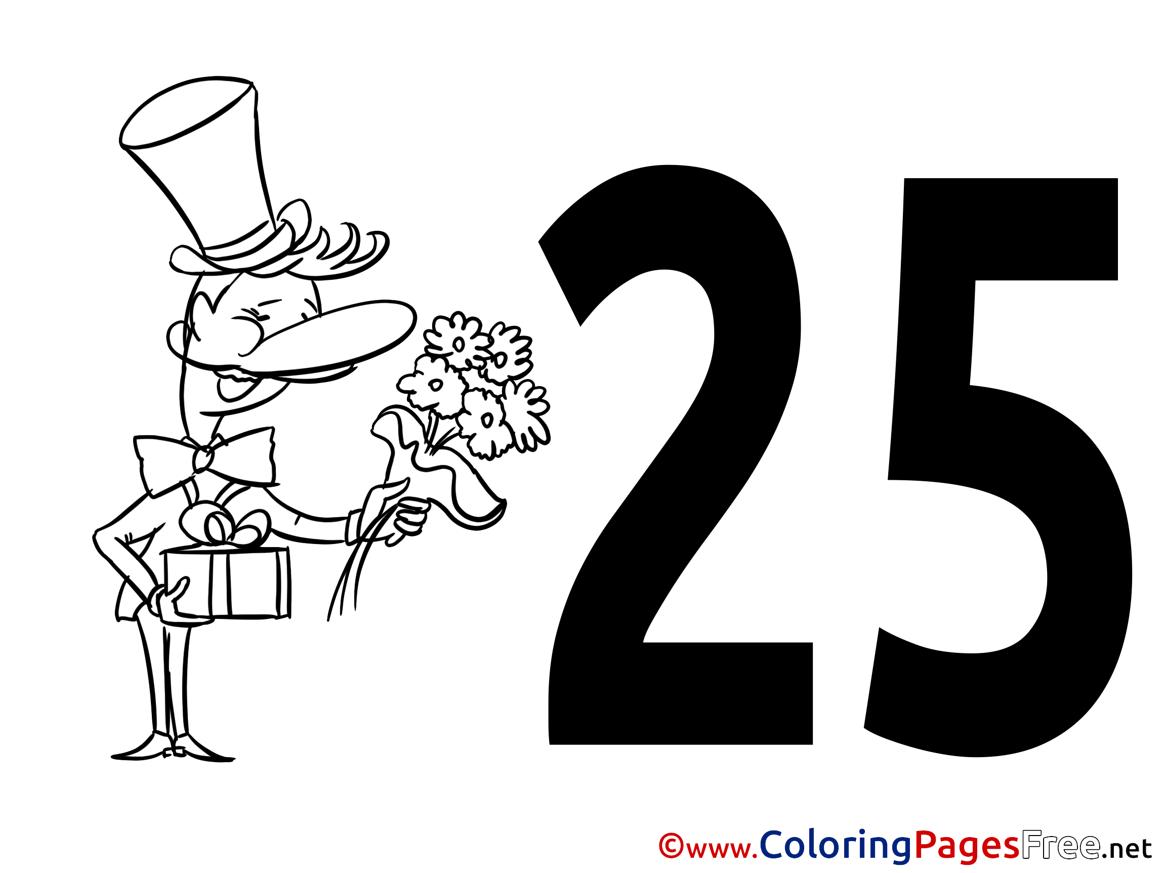 flowers 25 years kids happy birthday coloring pages