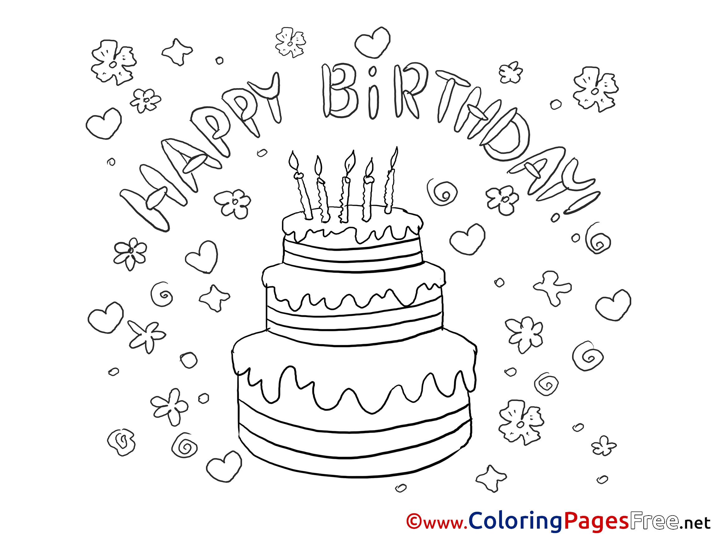 Incredible Flowers Cake Printable Happy Birthday Coloring Sheets Funny Birthday Cards Online Overcheapnameinfo