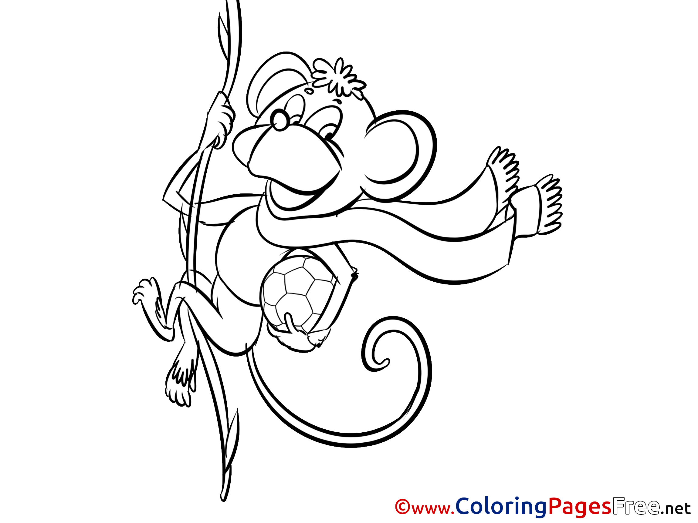 Monkey Coloring Sheets Happy Birthday free