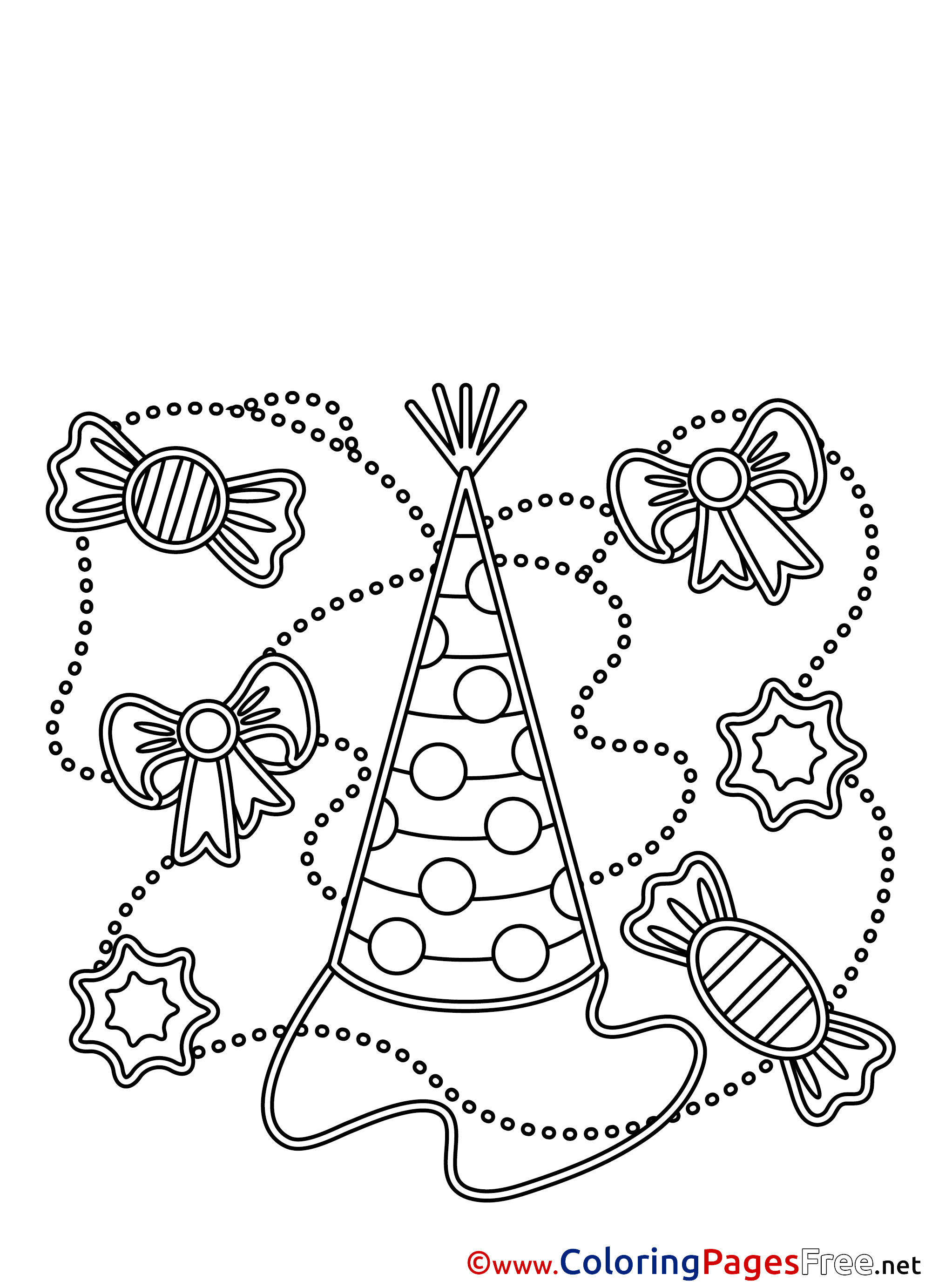 Party hat download happy birthday coloring pages for Coloring pages of birthday hats