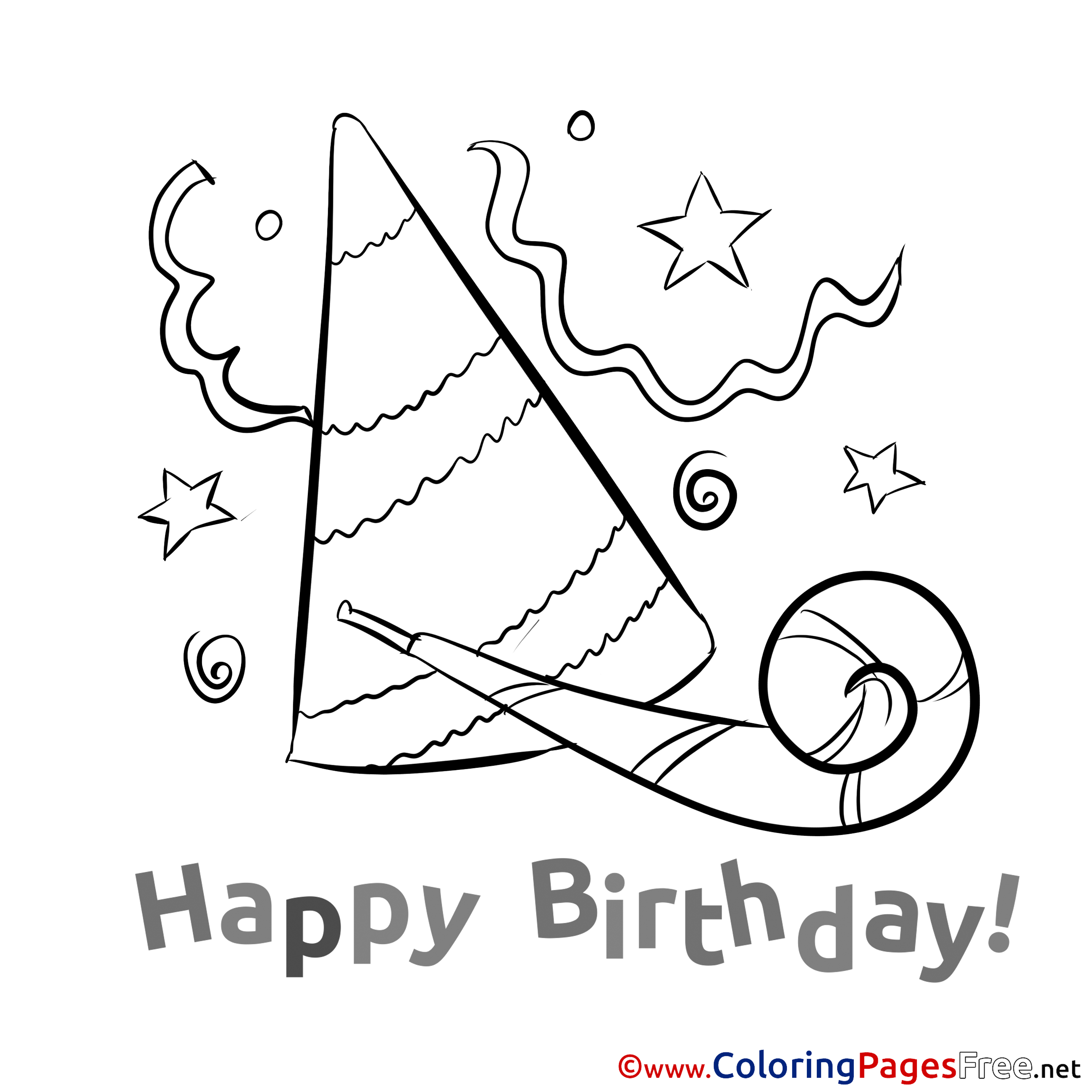 Party hat for kids happy birthday colouring page for Coloring pages of birthday hats