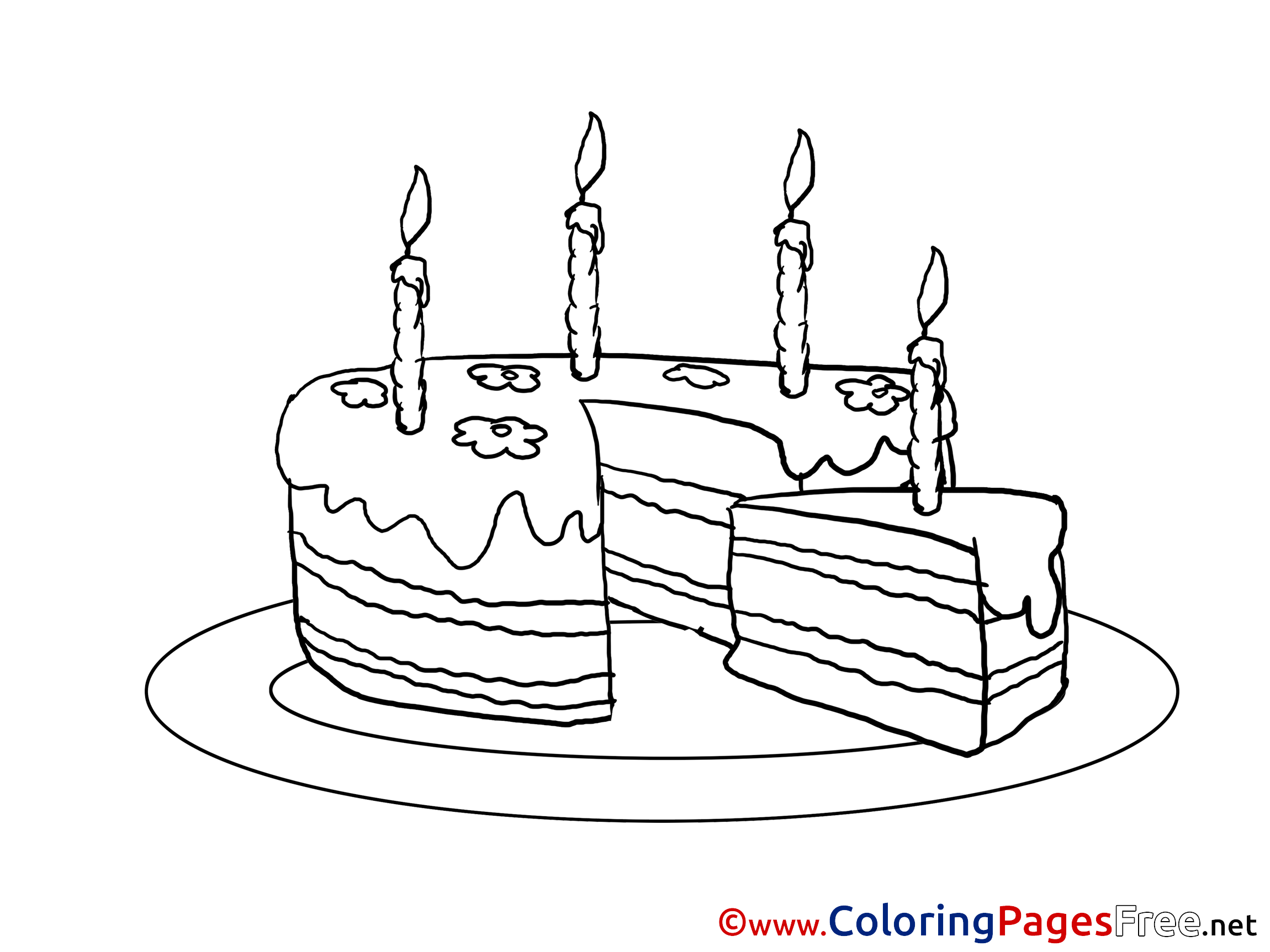 Piece Of Cake Printable Coloring Pages Happy Birthday
