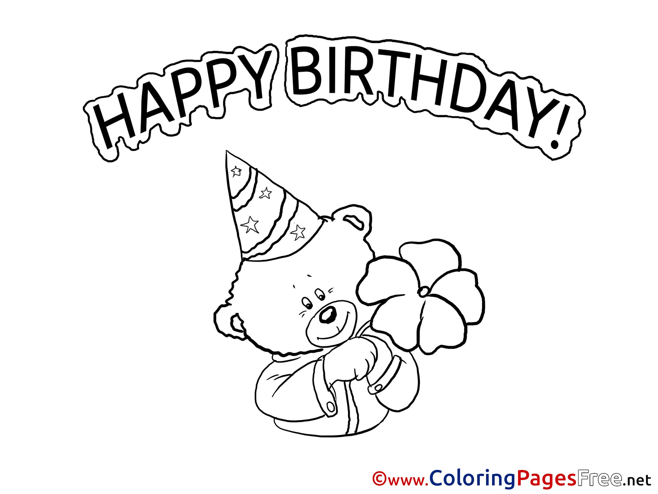 Teddy Bear free Colouring Page Happy Birthday