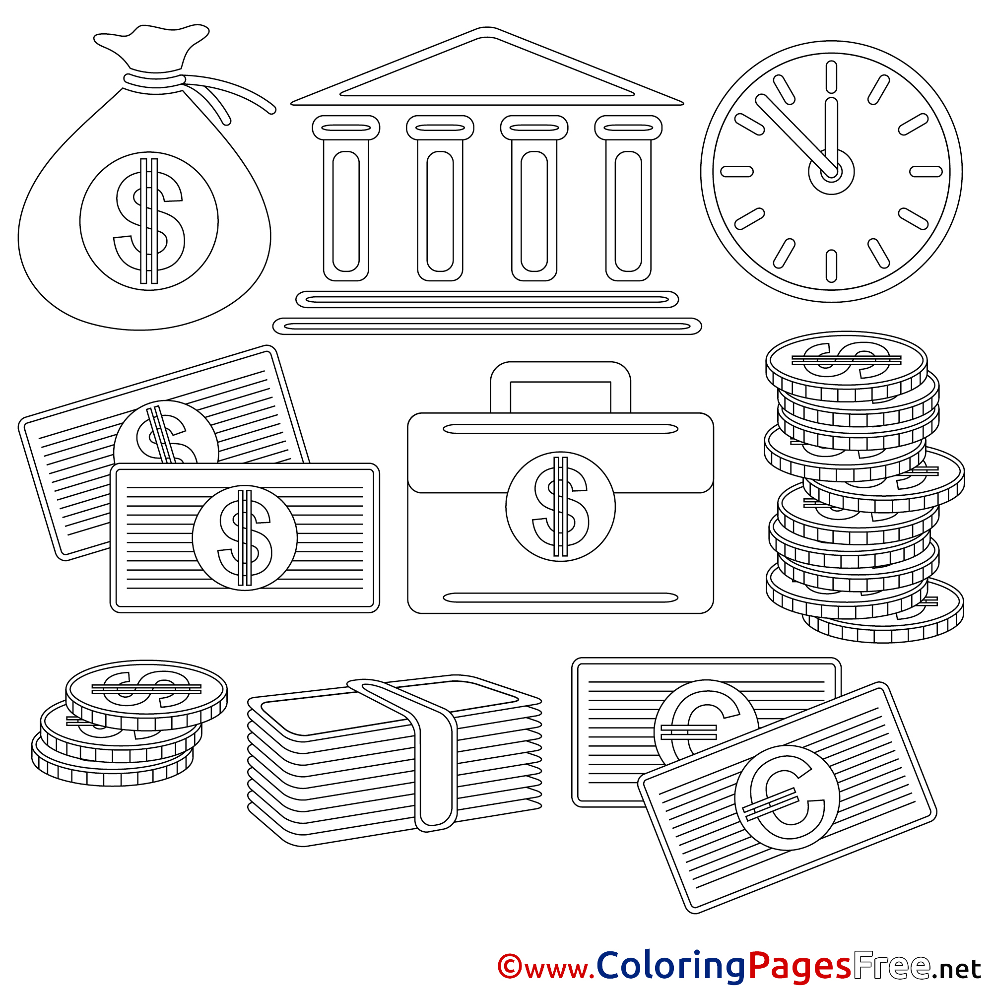 bank coloring pages business