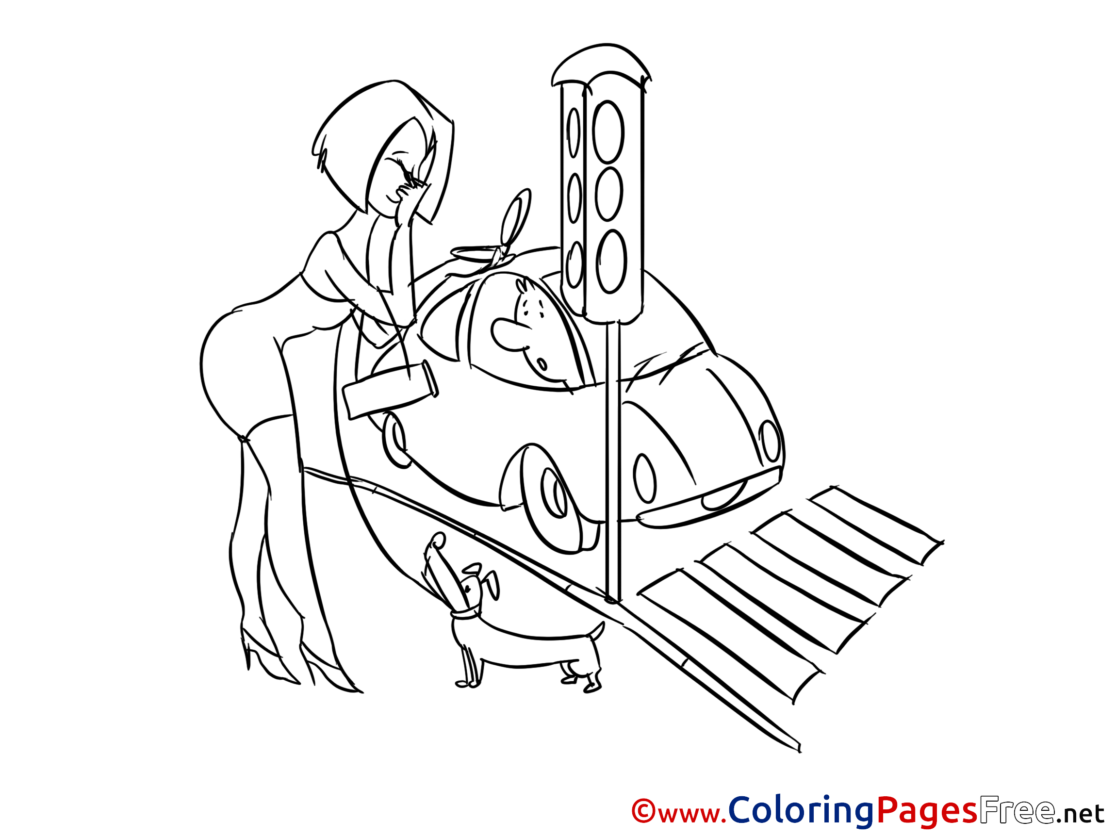 Traffic Light For Children Free Coloring Pages