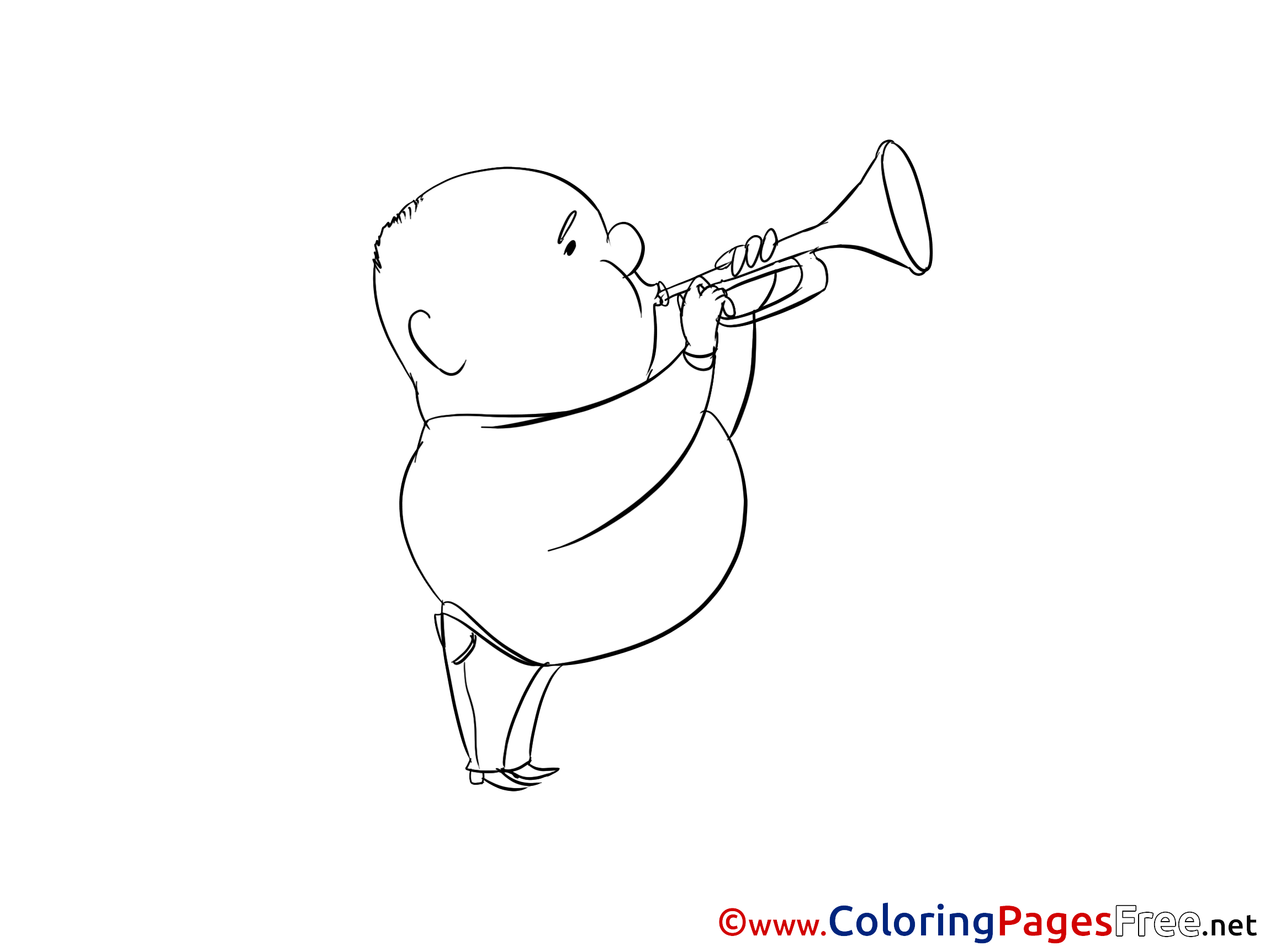 Trumpet Colouring Page Printable Free