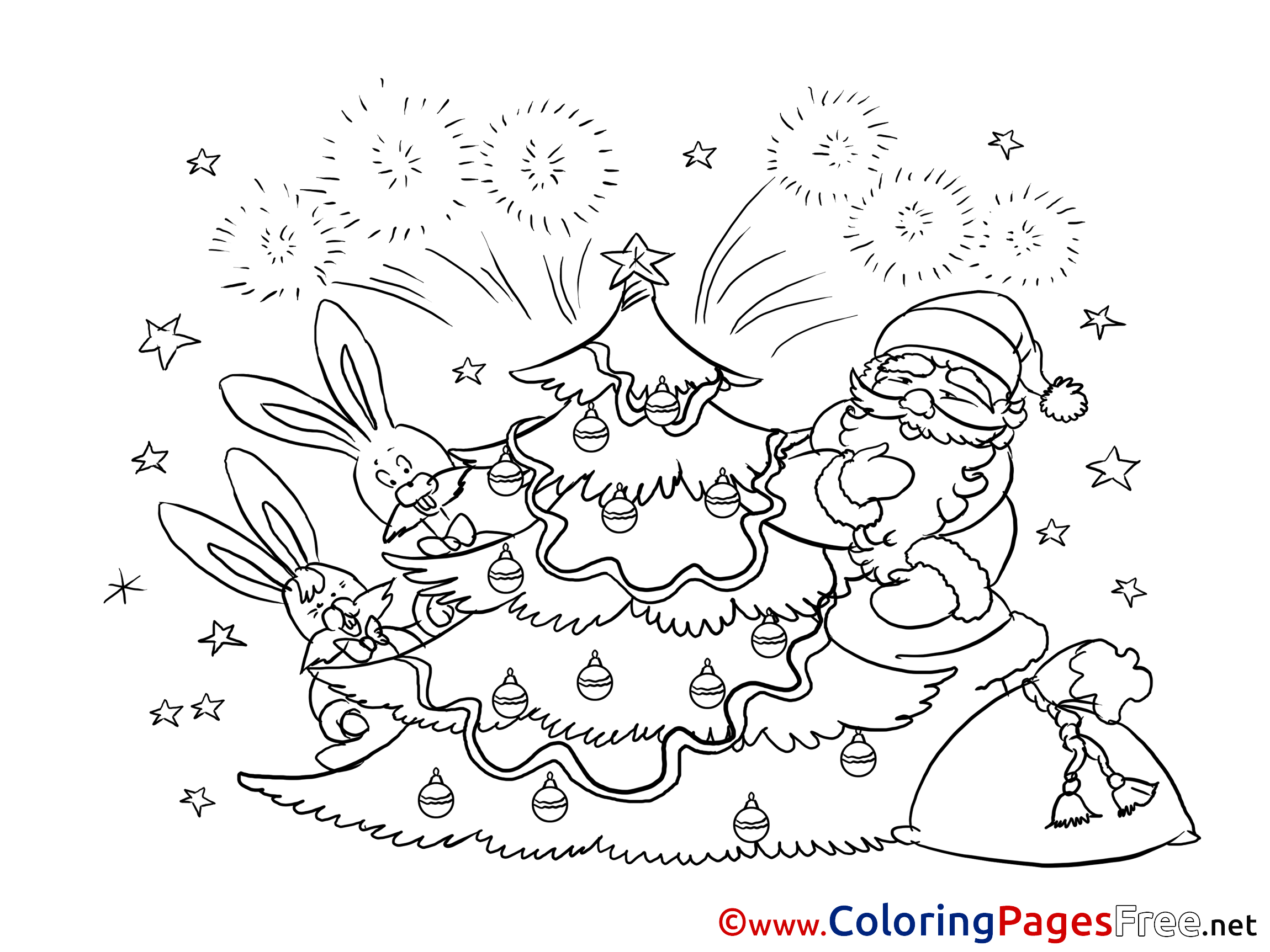 Firework Printable Christmas Coloring Sheets