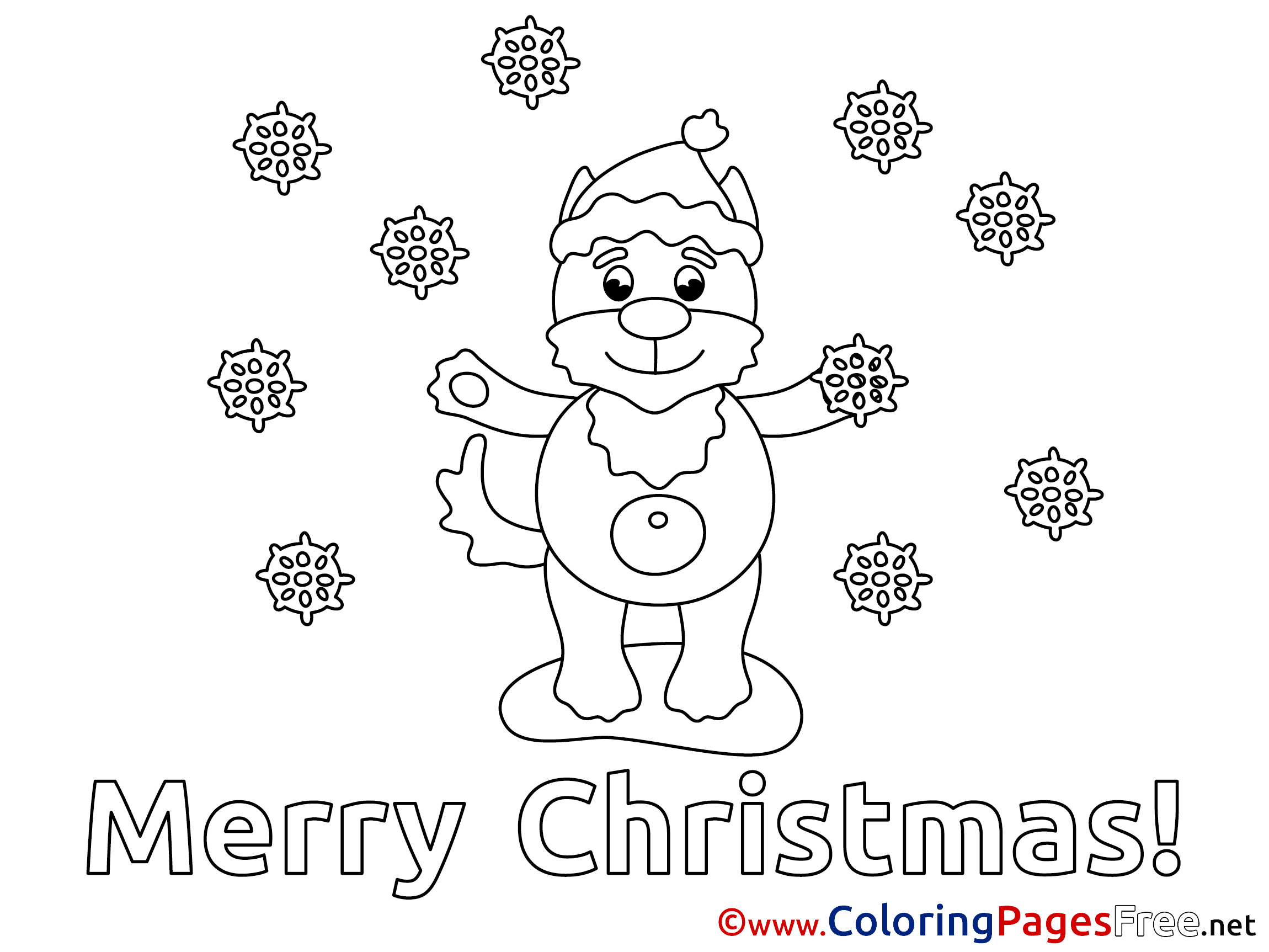 Puppy Kids Christmas Coloring Pages