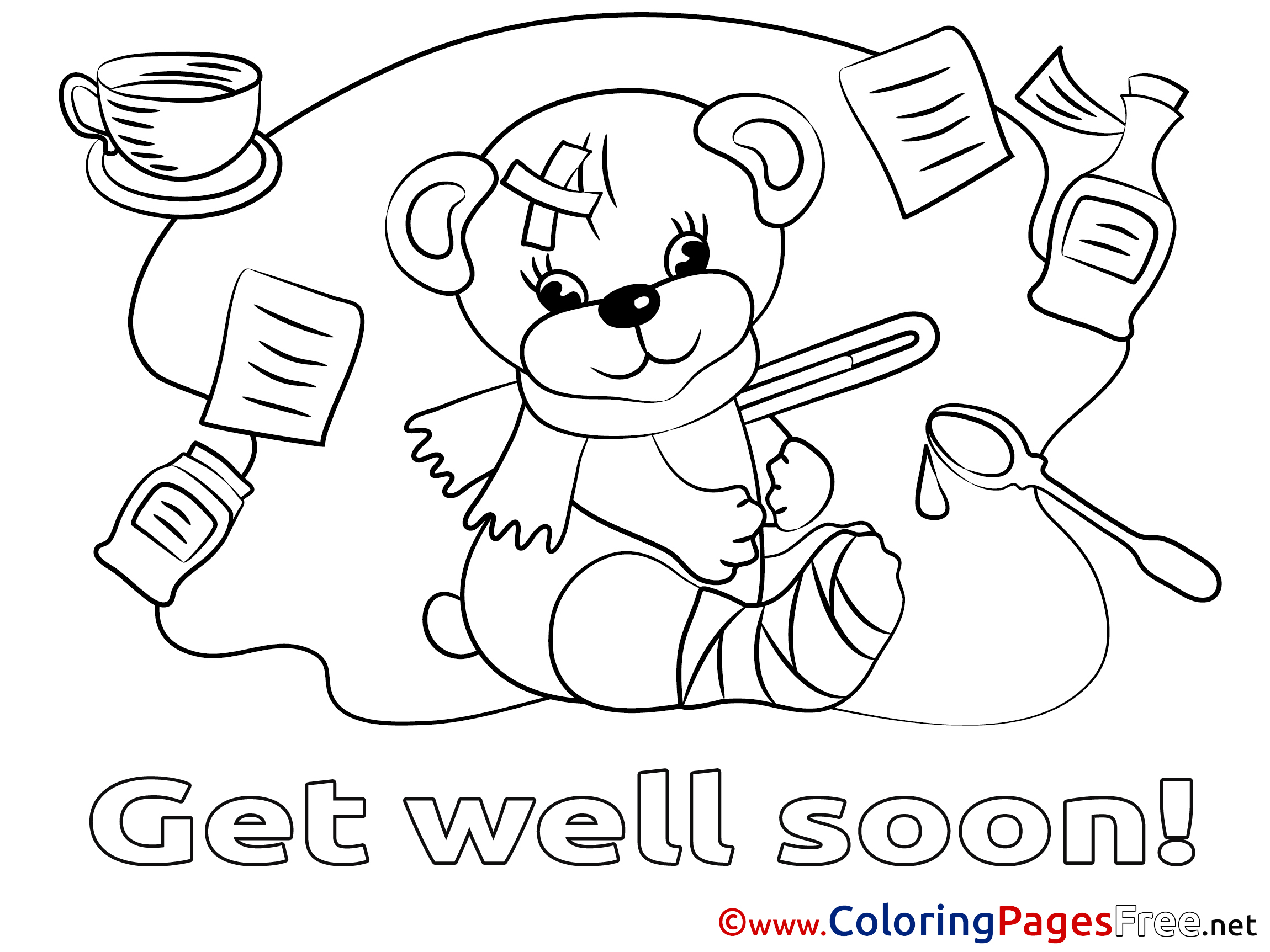 Bear Get well soon free Coloring Pages